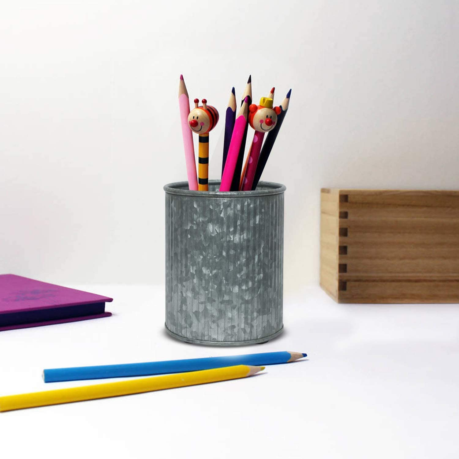 Today Deal Shaniya's Design Metal Pencil Holder, Pen Holder, Utensil Holder, Makeup Brush Holder Storage Made of Galvanized 4x4x5 Inch.