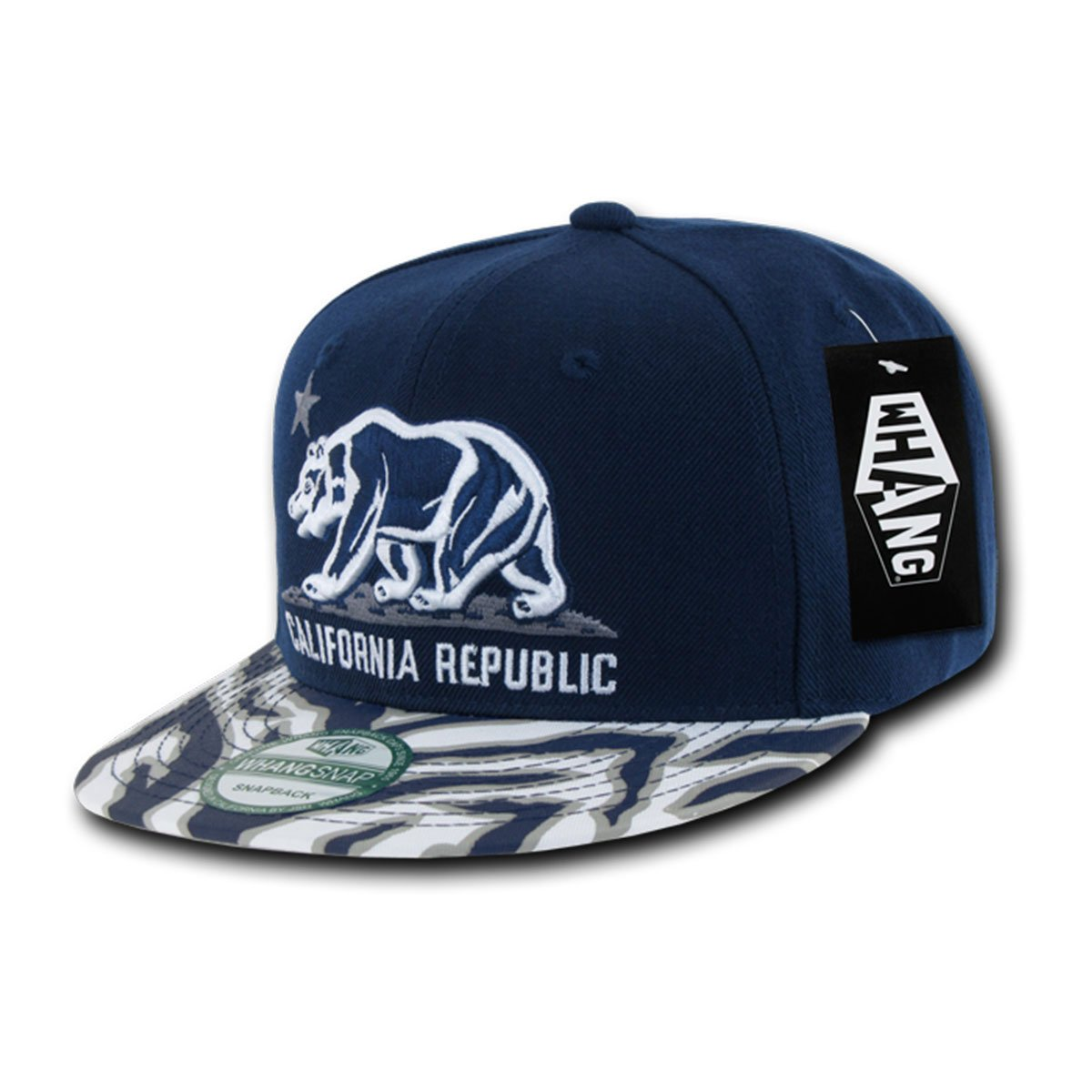 ea411ac7 Amazon.com: WHANG Ziger Flat Bill California Bear SnapBack Baseball Caps  W30 Black: Clothing