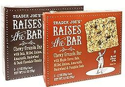 Trader Joe\'s Raises the Bar Gluten Free Chewy Granola Bars Variety Bundle: 2 Boxes - 1 Maple, 1 Dark Chocolate Chunk