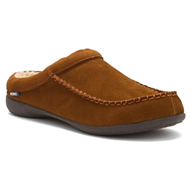 Vionic Barrow Mens Faux Shearlinglined Slipper Chestnut  10