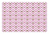 Lunarable Queen Pet Mat for Food and Water, Diagonal Lines with Gemstones Crown Motifs Royalty Nobility Symbolism Theme, Rectangle Non-Slip Rubber Mat for Dogs and Cats, Warm Taupe Pink
