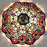 16-Inch European Retro Style Gorgeous Flower Tiffany Stained Glass Flush Mount Ceiling Light Dining Room Light