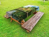 Ambesonne Balinese Outdoor Tablecloth, Tirta Empul Temple Bali Indonesia Exotic Trees Oriental Building Fish Lake Photo, Decorative Washable Picnic Table Cloth, 58 X 120 Inches, Green Yellow