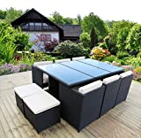 BlackRose 13 Pieces Outdoor Cube Dinning Set - Dining Table set for 12 - Patio Wicker Rattan Furniture Set with Beige Cushion