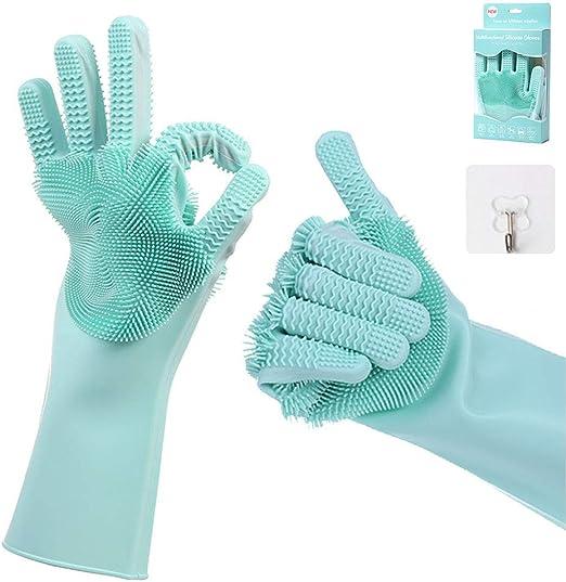 Guantes de silicona multiusos guantes m/ágicos con cepillo suave de limpieza resistentes al calor Azul