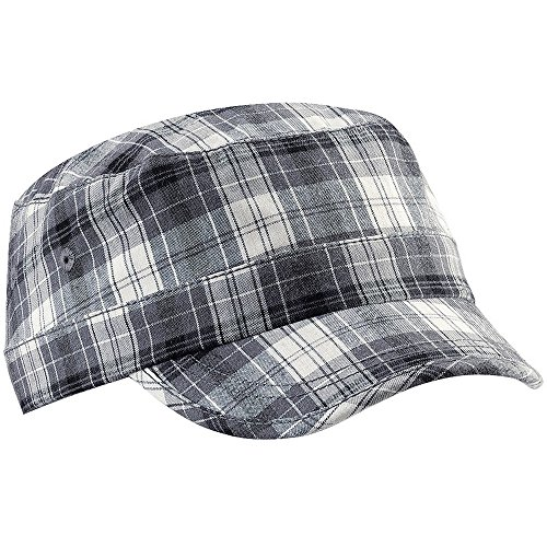 Beechfield Unisex Plaid Cadet Army Cap (One Size) (Gray Plaid)