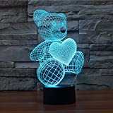 Love Cute Heart Bear 3D Night Light, Elstey LED illusion Lamp 7 Color Touch Switch Table Desk Lamp for Kids Gifts