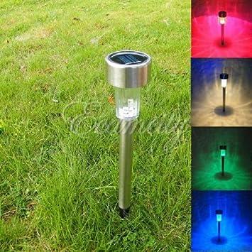 3xOutdoor Solar power LED Lawn Path yard Garden Light  Landscape Stainless New
