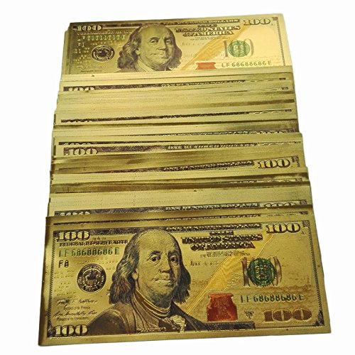 100pc 24K $100 New Version Gold US dollars $100 Paper Money Banknotes Fine CraftsUS Gold Banknotes Dollar Currency World Banknote Paper Money Collectible Gifts