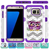 Galaxy S7 Edge Case, HLCT Rugged Shock Proof Dual-Layer Case for Samsung Galaxy S7 Edge (2016) (Owl Purple)
