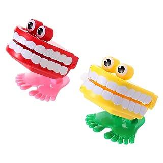 Toyvian 2 pz Wind up Toys Clockwork Walking Babbling Denti con Occhio Giocattoli per Compleanno Feste Forniture Bomboni Regalo (Colore Casuale)