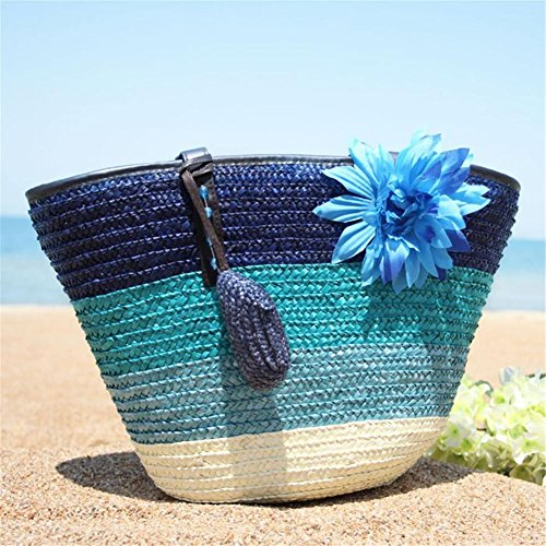 for Beach Outdoor Su Colorful Bag luoyu Blue Bag Single Rattan Women Bag Tote Bag Bag Shopping Bag Knitted Shoulder Straw Woven Striped Beach nOrRXTr