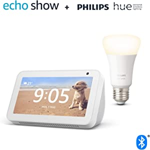 Echo Show 5, Bianco + Philips Hue White Lampadina Connessa (E27), compatibile con Alexa