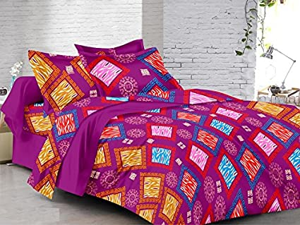 Captivating Purple Dew Designer Bed Sheet Set   Lustre Rani