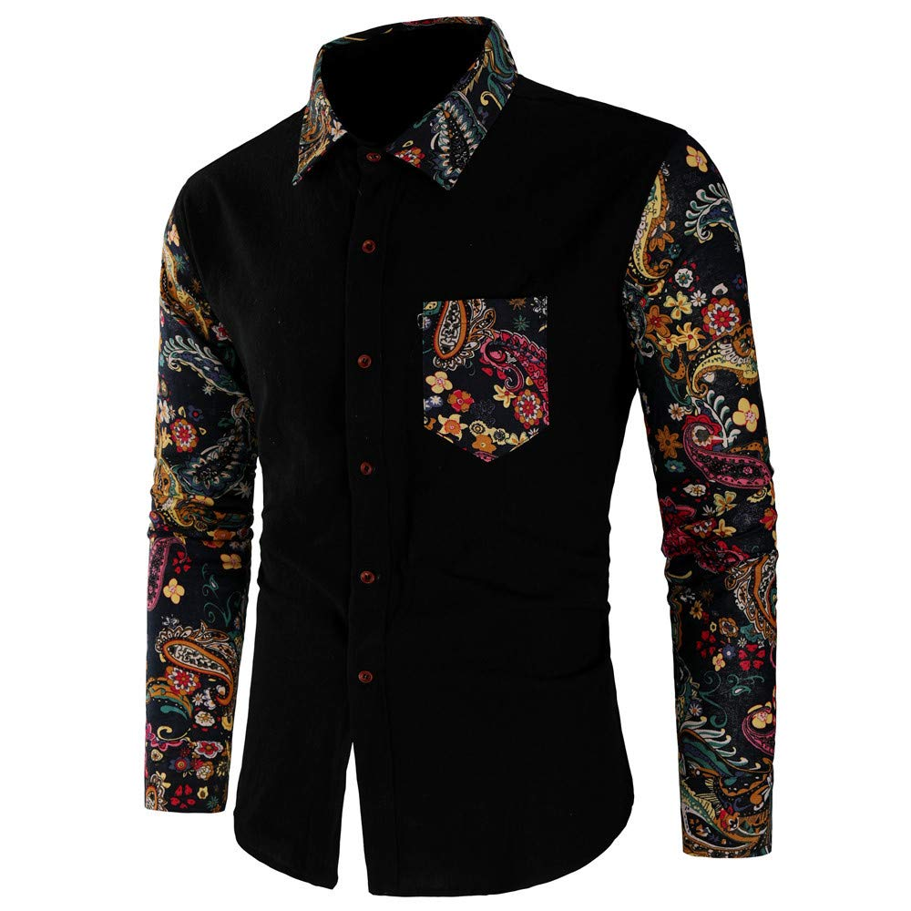 Corriee Fashion Tops for Men 2018 Classic Floral Print Long Sleeve Slim Fit Work Shirts Button Dress Shirts with Pockets