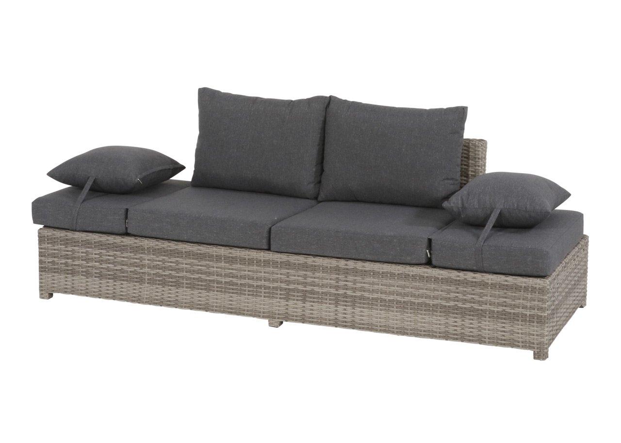 lifestyle4living Gartenbank 2 Sitzer aus Polyrattan Geflecht grau inkl. Kissen. Die klappbare Bank ist wetterfest, ideal für Garten, Terrasse und Balkon.
