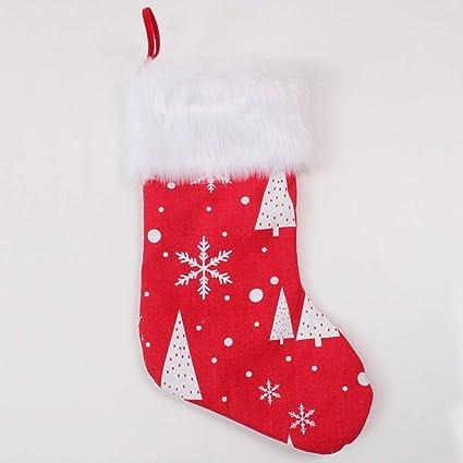 Deggodech Rojo Medias de Navidad Decoraciones Grande 19inch/50cm Calcetín Navidad Colgar Copo de Nieve
