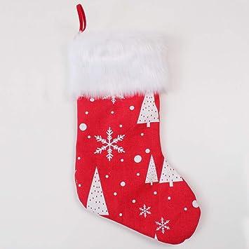 Deggodech Rojo Medias de Navidad Decoraciones Grande 19inch/50cm Calcetín Navidad Colgar Copo de Nieve Blanco Felpa Frontera Navidad Calcetines Adornos de ...