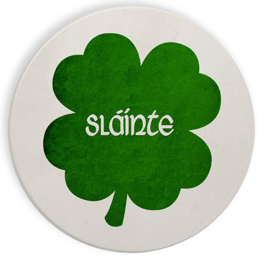 Ceramic Stone Coaster Coasters Set of Four - Irish Gaelic Cheers Slainte Green Shamrock Toast