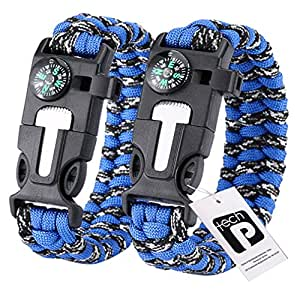 TECH-P 5 in 1 Multifunctional Paracord Bracelet with Compass Flint Fire Starter Scraper Whistle- 2 Pack (Fishbone Blue)