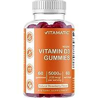 Vitamatic Vitamin D3 Gummies - 5000 IU - 60 Vegan Gummies - Great Taste - Healthy Bones, Teeth, Mood, Joint & Immune…
