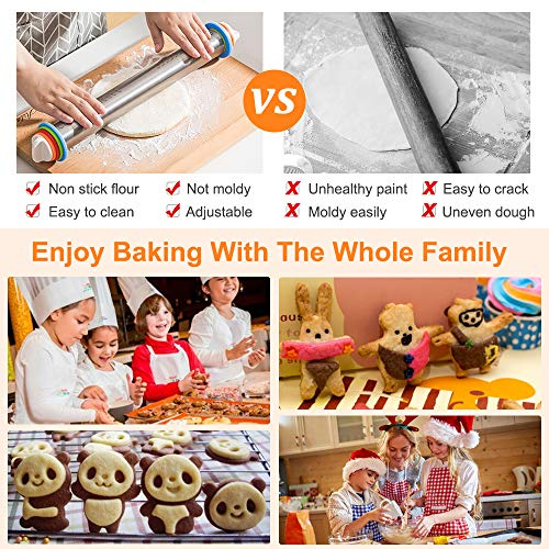 APRATA Stainless Steel Adjustable Roller Pin with Silicone Baking Mat Set,4 Removable Thickness Rings for Baking Cookie Fondant Dough Pastry Pizza Pie Crust Rolling Pin