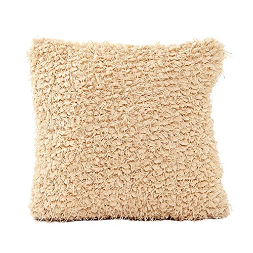 CZYCO Fashion Hair Ball Style Pillow Version Sofa Bed Home Decor Fuzzy Pillow Case Cushion Cover,Beige -