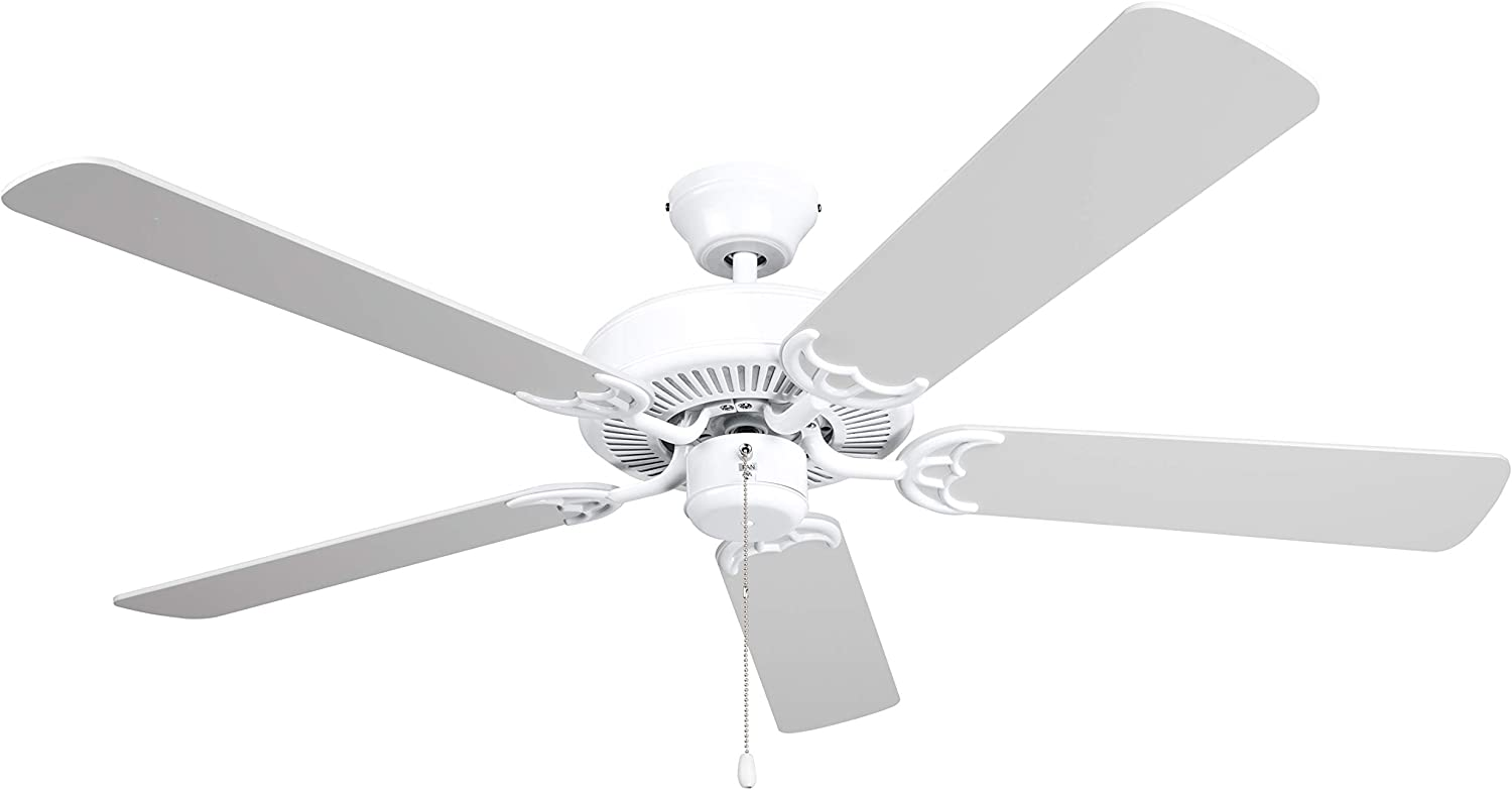 Amazon Com Hyperikon 42 Inch Ceiling Fan No Light 55w Remote Control And Pull Chain White Body 5 Blades White Kitchen Dining