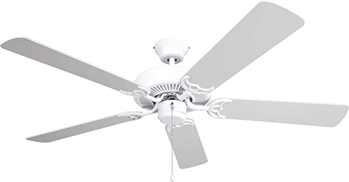 Hyperikon 42 Inch Ceiling Fan No Light 55w Remote Control And Pull Chain White Body 5 Blades White Kitchen Dining Amazon Com
