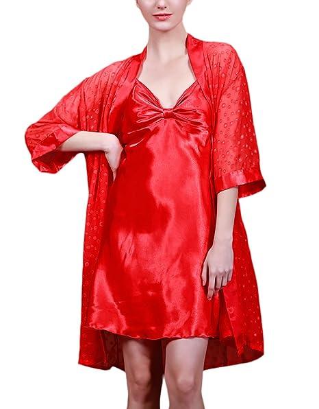 Camisones De Mujer Batas 2 Pieza Conjuntos Pijama Corto Camisones Sleepwear Elegantes Moda Cómodo Respirable Camison Kimono Pijamas: Amazon.es: Ropa y ...