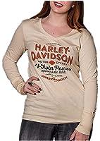 Harley-Davidson Women's Rumble Rhinestone V-Neck Long Sleeve Shirt, Tan