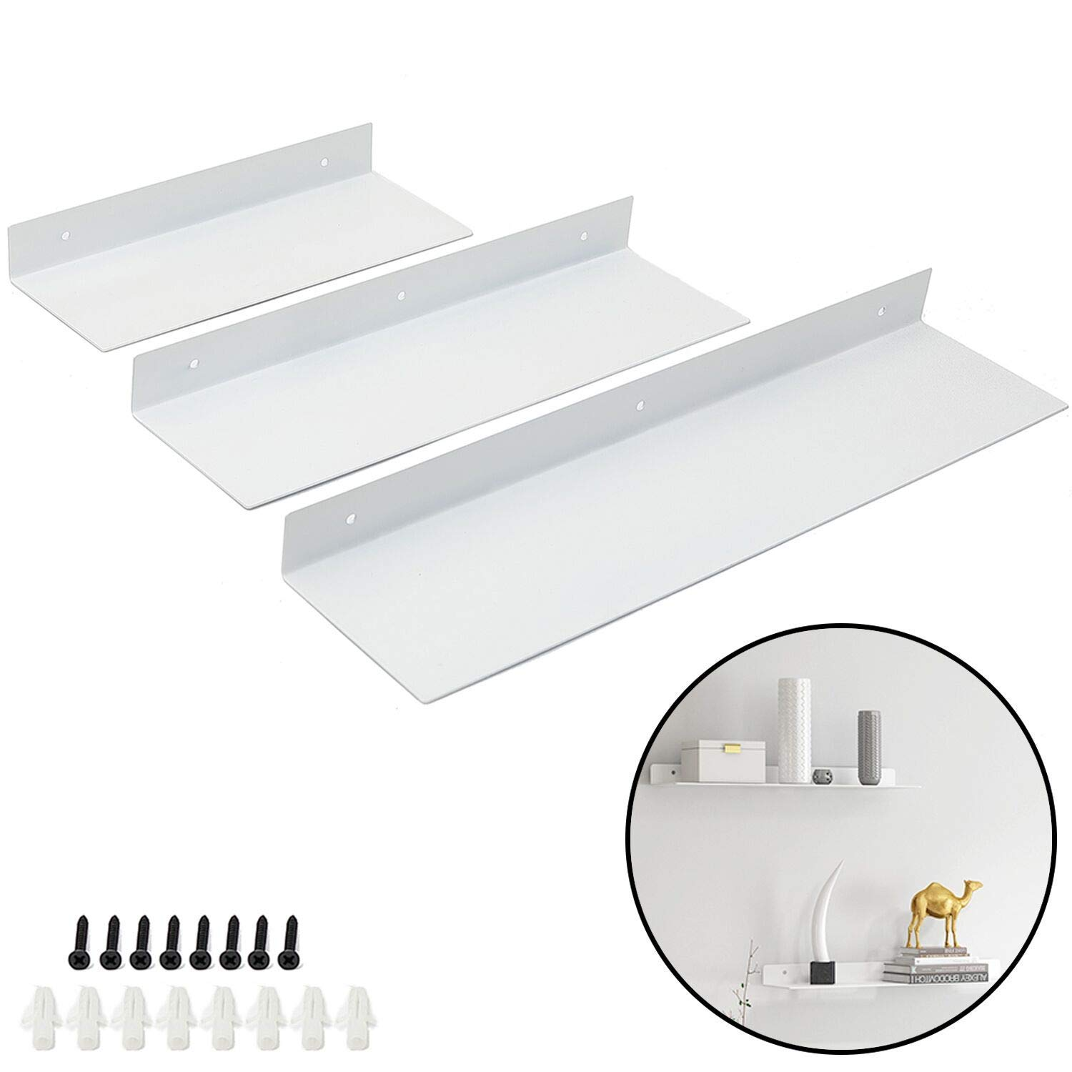 Ihomepark Floating Metal Shelves Wall Mounted, Heavy Duty Iron Decorative Ledge Shelf for Kitchen, Kids Room, Living Room - Perfect for CD Book Picture Frame Display Storage (Set of 3, White)