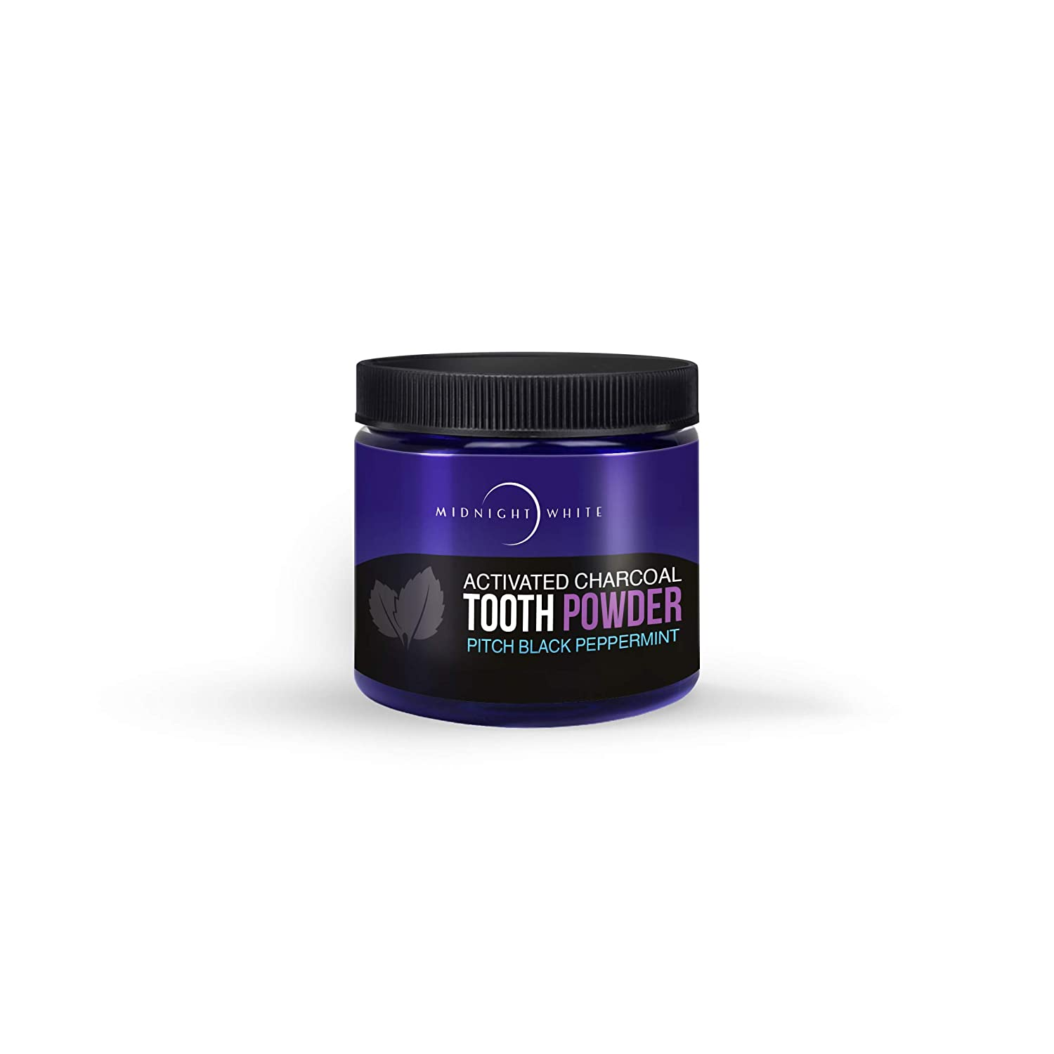 Midnight White Natural Whitening Activated Coconut Charcoal Tooth Powder Peppermint 2 oz | Natural Teeth Whitener | Fresh Breath | Organic Teeth Cleaning Coco Charcoal Powder