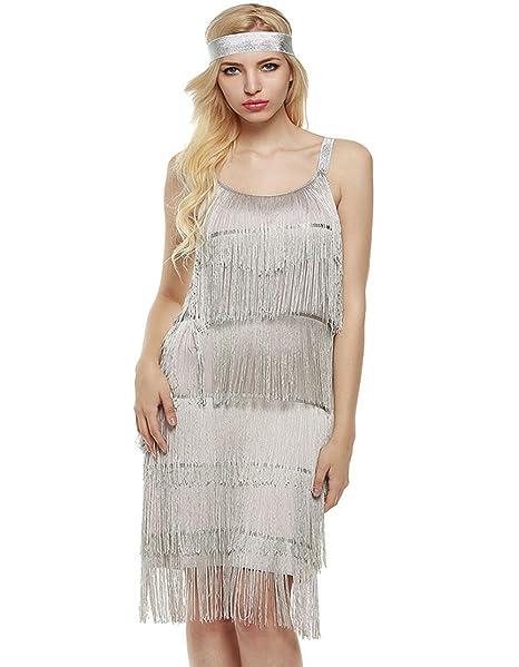 Amazon.com: carsget Flapper Fringe Costume 20\'s Gatsby Dress ...
