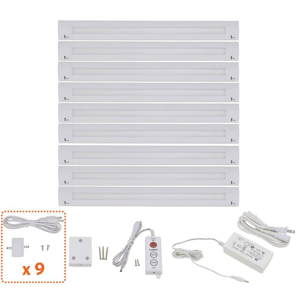 Lightkiwi T3874 Lilium 12 Inch Warm White Modular LED Under Cabinet Lighting - Pro Kit (9 Panels) by Lightkiwi