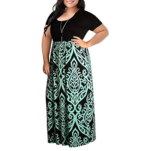 81a839c52668 Womens Dresses Women Short Sleeve Loose Plain Casual Plus Size Long Maxi  Dress with Pockets by