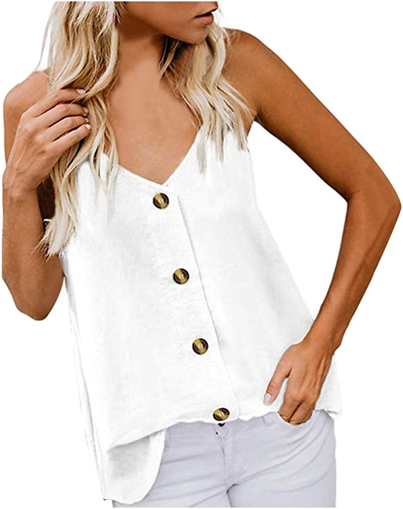 JESFFER Womens Button Down V Neck Solid Striped Tank Tops Loose Casual Camisole for Summer