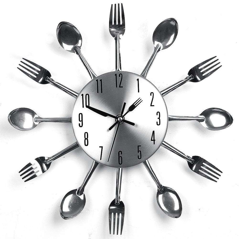YHANONAL Wall Clock Cutlery Kitchen Fork Knife Creative Novelty Hang ...