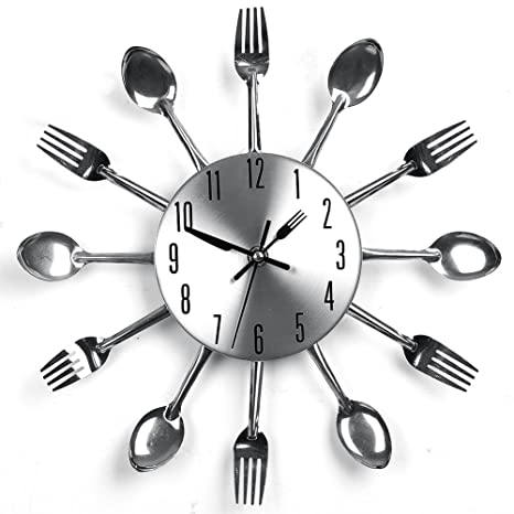 YHANONAL Reloj de Pared Cubertería Horquilla Cocina Cuchillo Creativo Novedad Colgar Reloj Plateado Decorativo para Moderno