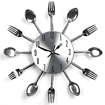 Edelstahl Küchenutensilien Uhr für Küche Déco Indoor und Outdoor ...