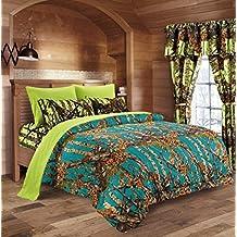 20 Lakes Camo Comforter, Sheet, & Pillowcase Set (Twin, Sea Breeze - Neon Green)