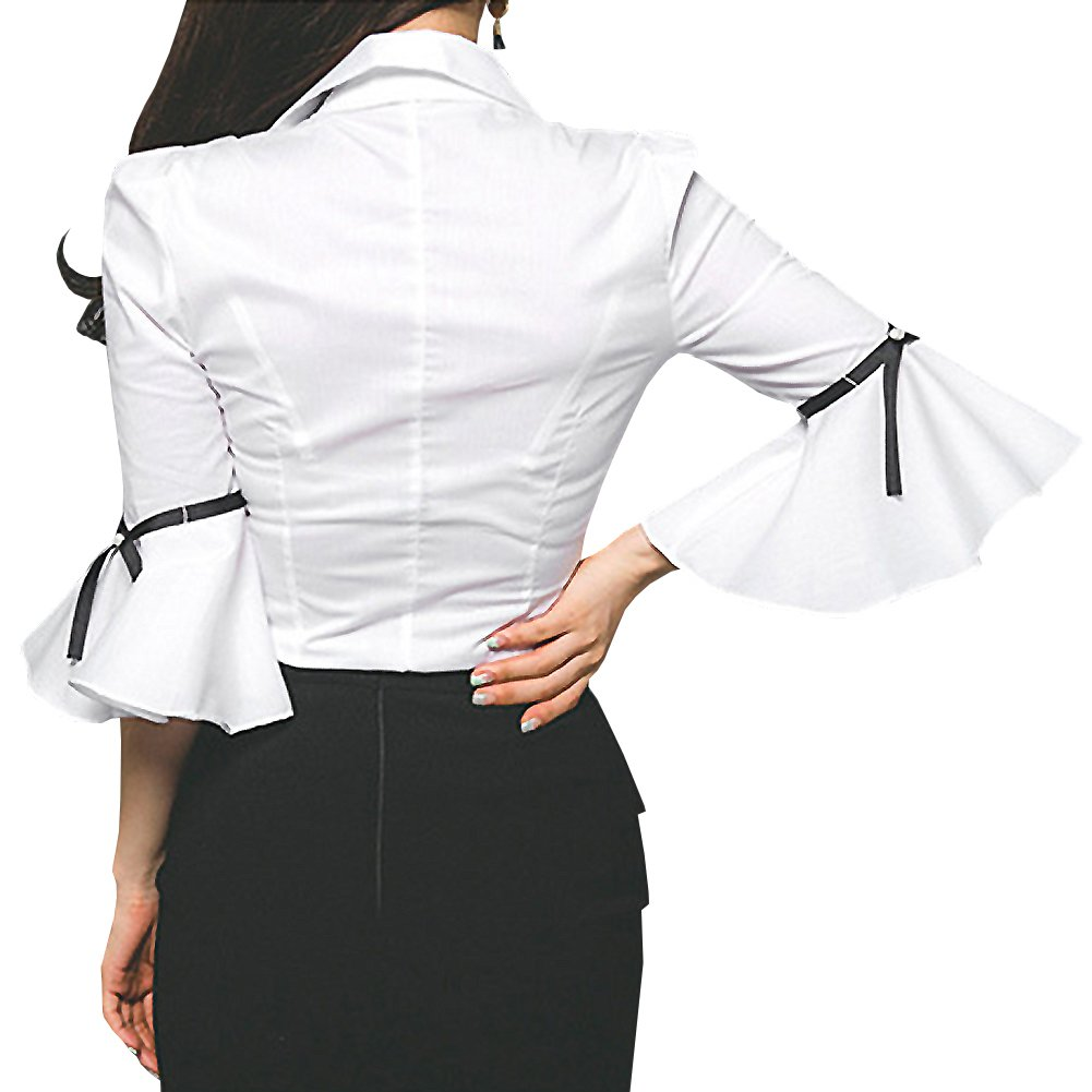 Y&Z Women Blouse V Neck Long Sleeve Lotus Black Shirt Blouse Tops (S, BS19-White) by Y&Z
