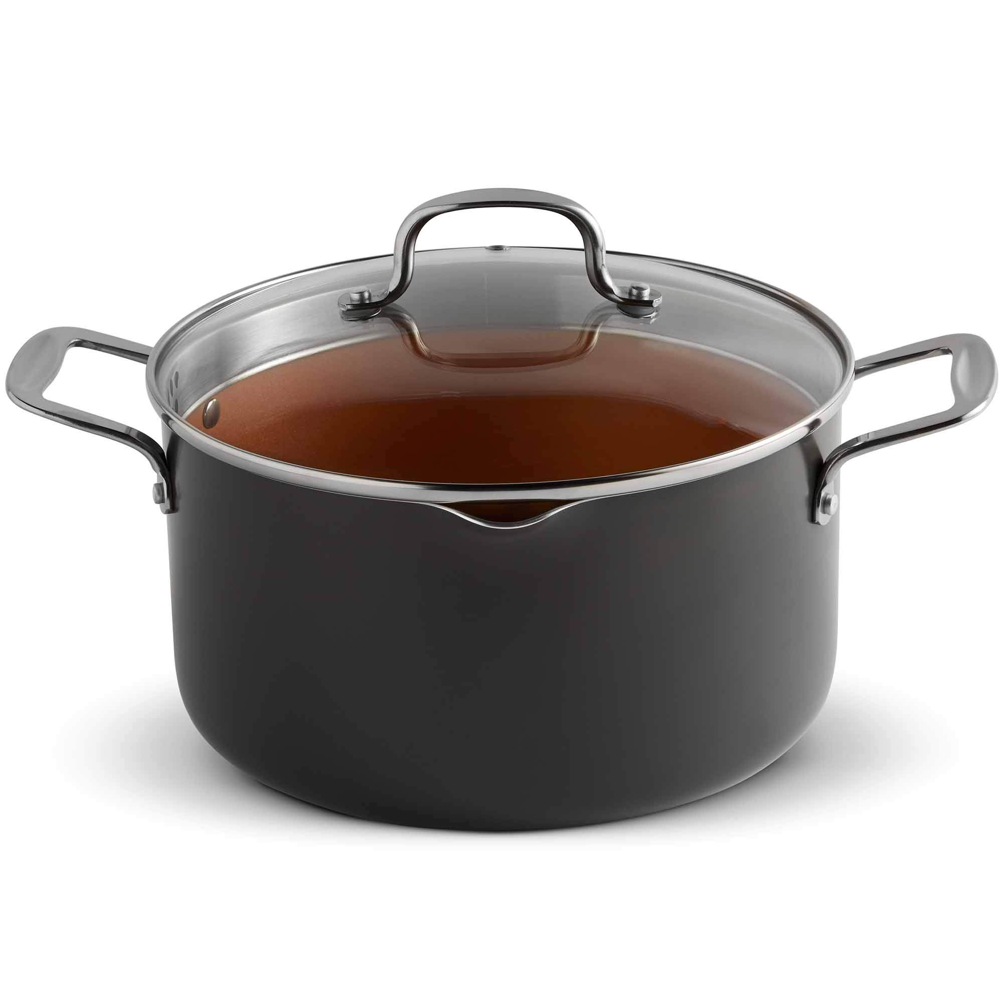 VonShef Casserole and Pasta Multi Pot with Strainer Lid, Easy Clean, Non-Stick Copper-Colored Interior, Stainless Steel Handles and Tempered Glass Lid, Induction Hob Ready, Copper, 5 Quart Capacity by VonShef (Image #1)