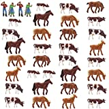 #10: Farm Animals Figure Toys Set,AN8706 36PCS 1:87 Well Painted Farm Animals Cows Horses Figures for HO Scale Model Train Scenery Layout Miniature Landscape NEW