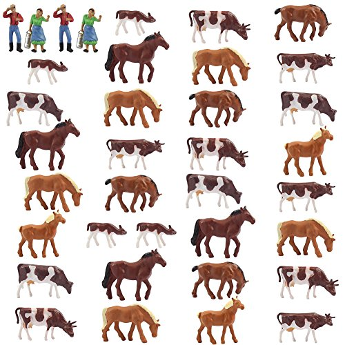 Farm Animals Figure Toys Set,AN8706 36PCS 1:87 Well Painted Farm Animals Cows Horses Figures for HO Scale Model Train Scenery Layout Miniature Landscape New