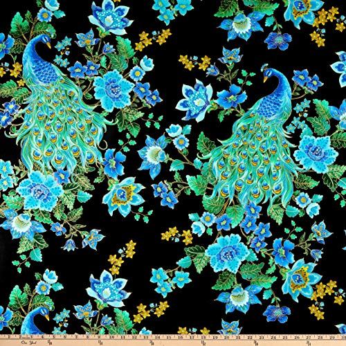 Timeless Treasures Plume Peacocks Multi/Black Metallic Fabric by The Yard