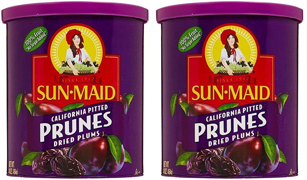 Sun Maid Dried Pitted Prunes - Pack of 2 12 oz Cans of Dried Prunes - Delicious, Plump and Juicy by Sun Maid