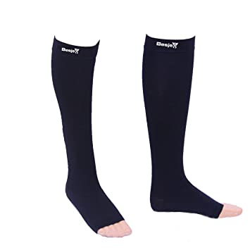 Besjex ™ Compression Stockings Below Knee for Men & Women (1 Pair) Compression Knee High Socks,...