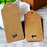100 PCS Kraft Paper Gift Tags Hollow Heart