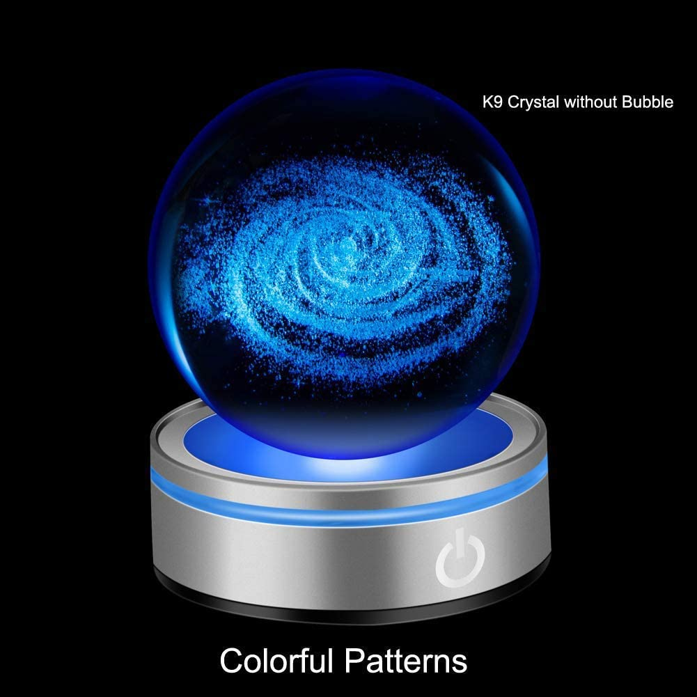 IFOLAINA 3D Galactic System Crystal Ball 80mm 3.15 Laser Engraved Galaxy Model Decoration Ball in Home and Office Gift for Birthday Kids Astronomy Enthusiast